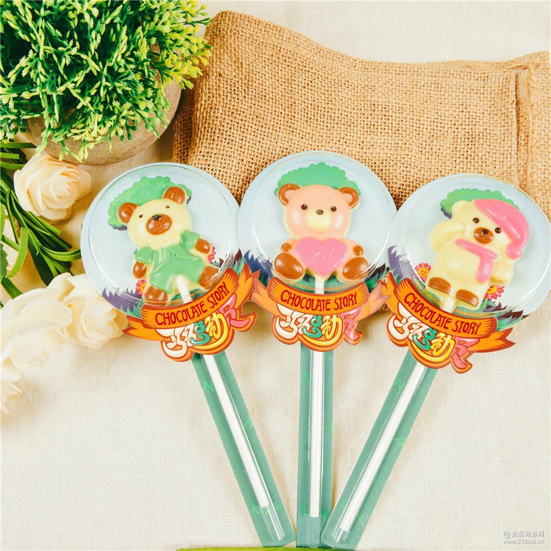 厂家直销小熊飞莎巧克力卡通棒棒糖零食糖果纯手工生产30支起发