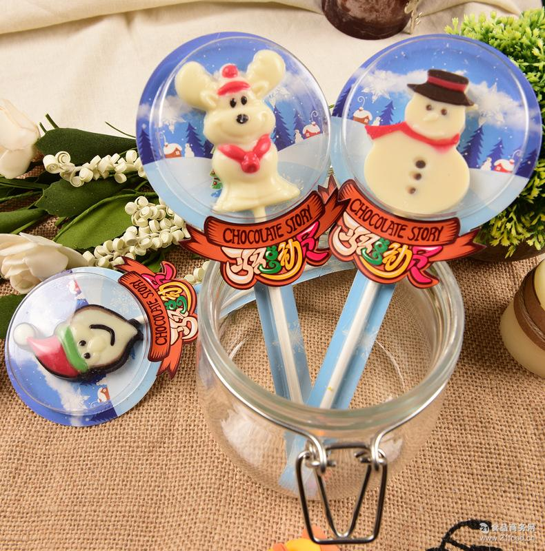 厂家直销圣诞节巧克力卡通棒棒糖零食糖果手工制作50支一盒起发