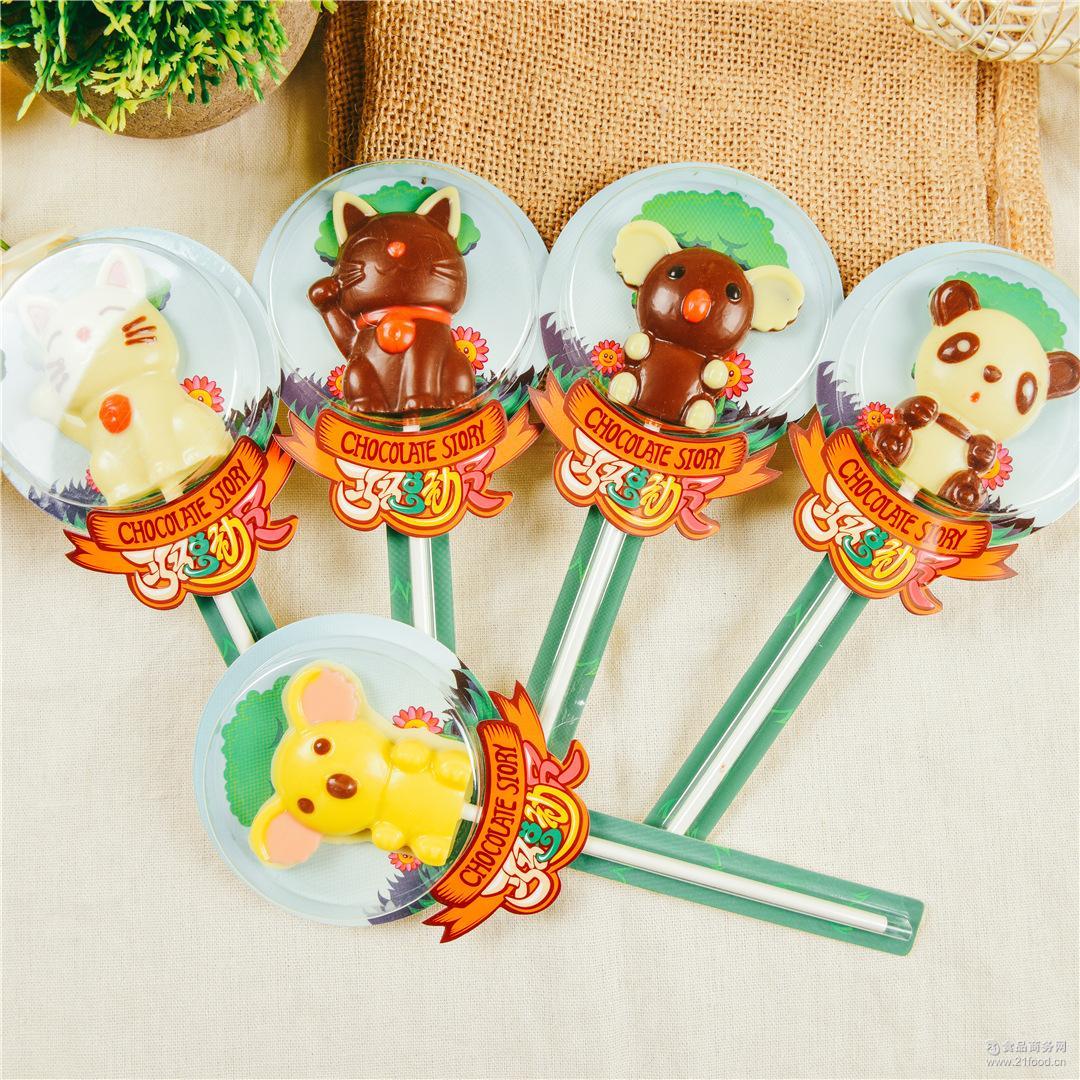 厂家直销考拉飞莎巧克力卡通棒棒糖休闲零食糖果纯手工生产30支起