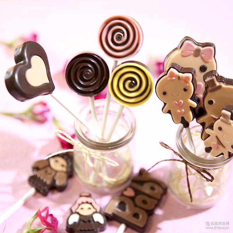 巧力美卡通新品巧克力棒棒糖零食糖果休闲食品40支起发