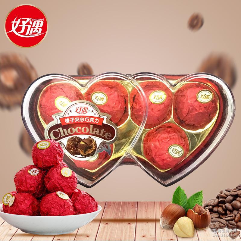 休闲食品糖果婚庆巧克力零食批发 好遇榛子夹心巧克力6粒心形75g