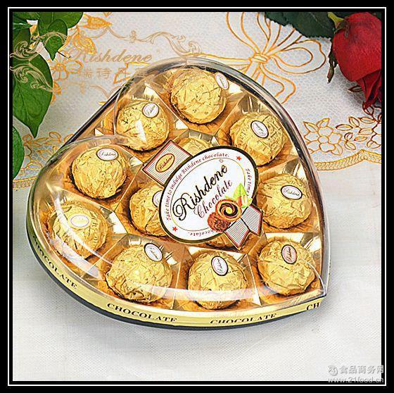 瑞诗丹莲12粒心形款礼盒结婚喜糖糖果情人节金莎巧克力批发
