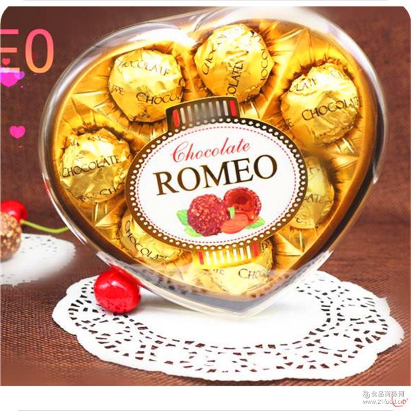 罗蜜欧 批发 巧克力厂家 零食婚庆糖果圣诞节饼干食品8粒心形礼盒