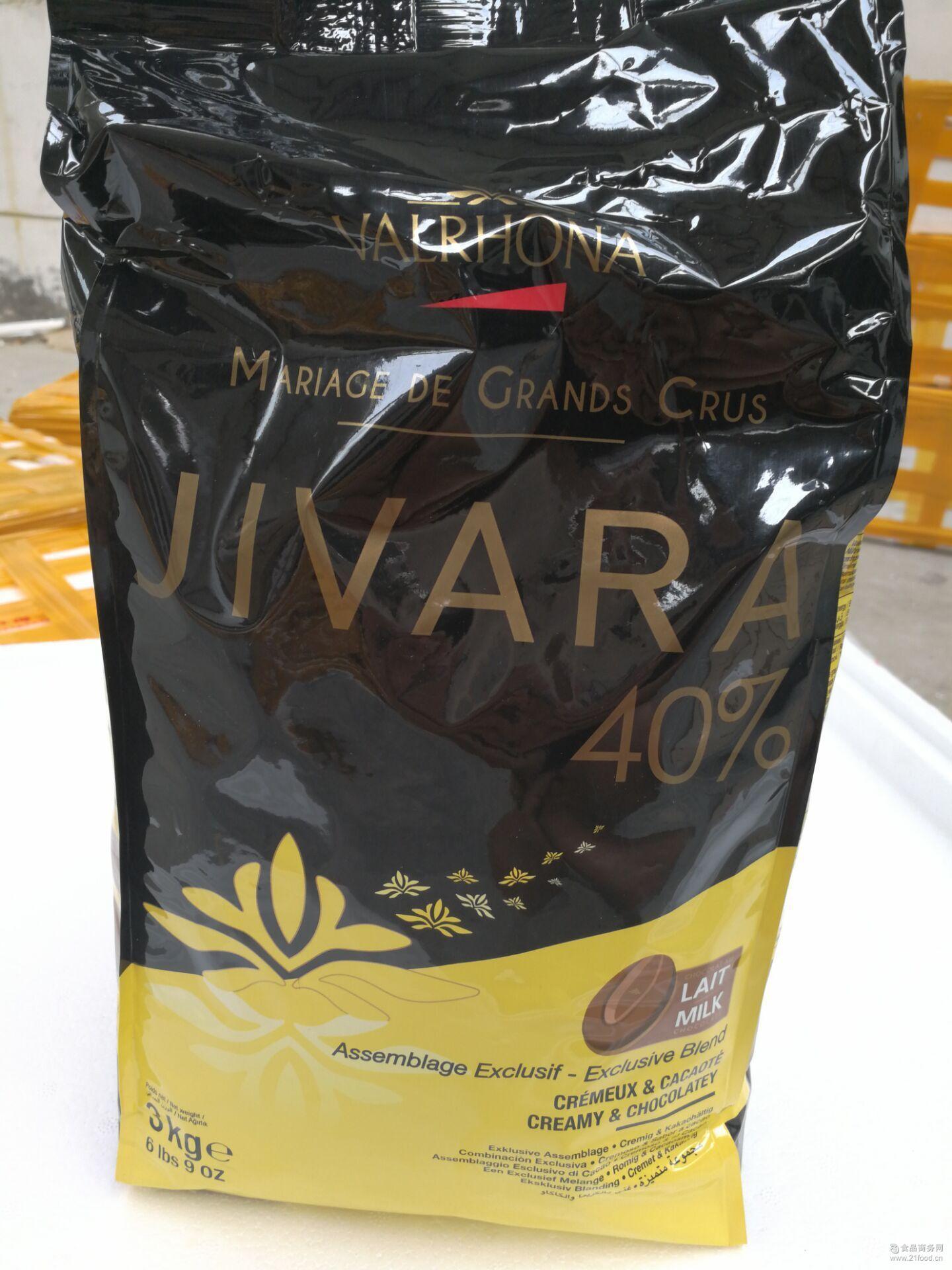 法国进口法芙娜VALRHONA吉瓦那牛奶巧克力豆(40%)3kg烘焙原料