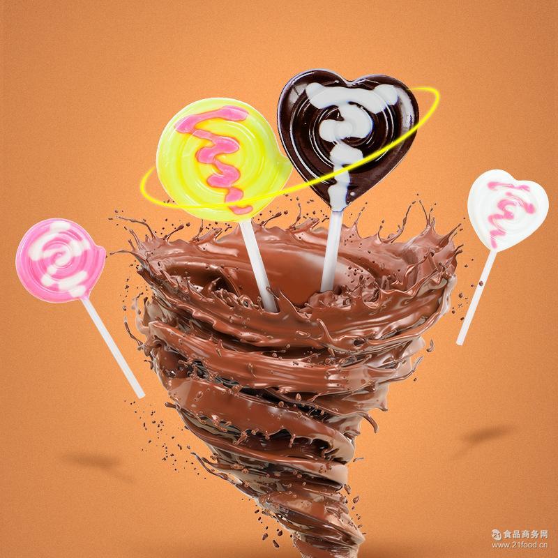休闲食品白巧克力 批发组合系列巧克力棒棒糖 12g卷心棒棒糖