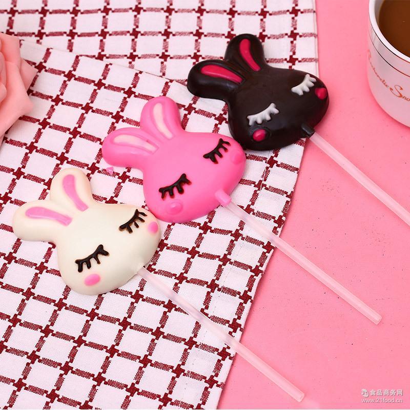 卡通可爱黑巧克力棒棒糖创意定做 35g手工食品护齿棒棒糖礼盒批发