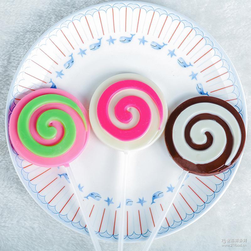 厂家热销35克壹佳牛奶味35g旋转圈棒棒糖 巧克力棒糖零食休闲食品