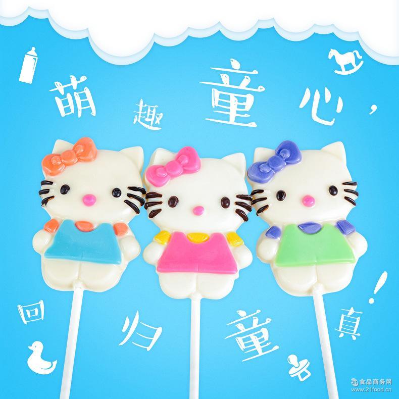 巧克力 卡通kt猫 护齿棒棒糖 非喜糖 造型 厂家批发休闲零食 60g