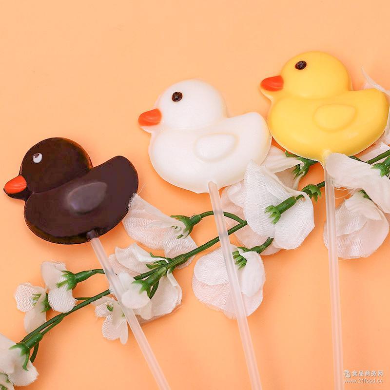 护齿巧克力昆虫棒棒糖 小黄鸭非喜糖12g巧克力糖 礼盒批发