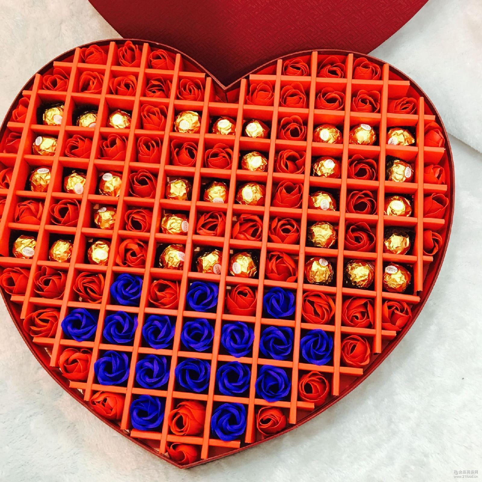 129格超大桃心盒费列罗巧克力*定制生日节日礼物爆款一件代发
