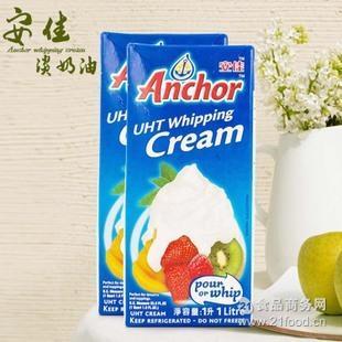 安佳淡奶油 新西兰淡奶油 DIY奶油 进口烘焙原料 稀奶油批发1L*12