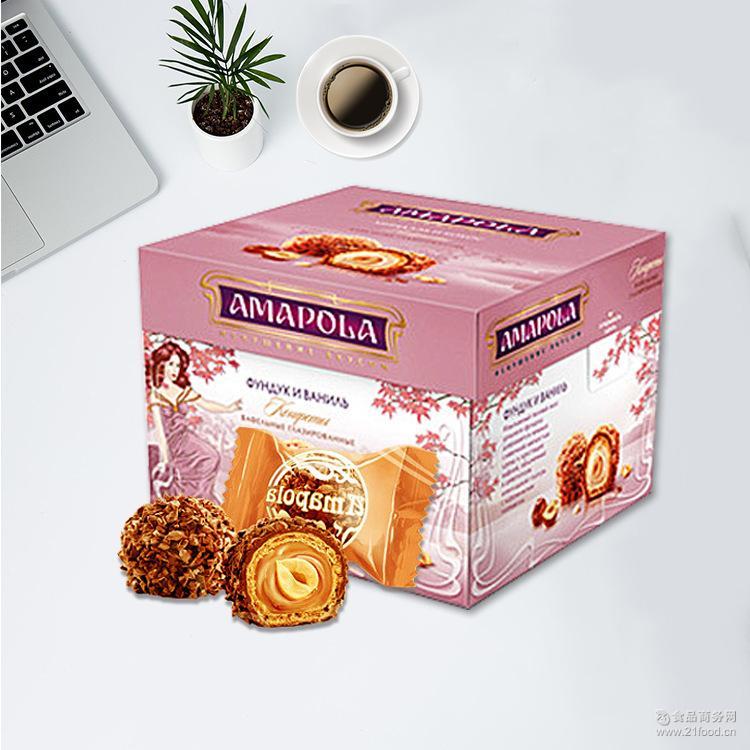 俄罗斯巧克力糖果进口零食艾莱宝榛仁夹心牛奶巧克力喜糖零食正品