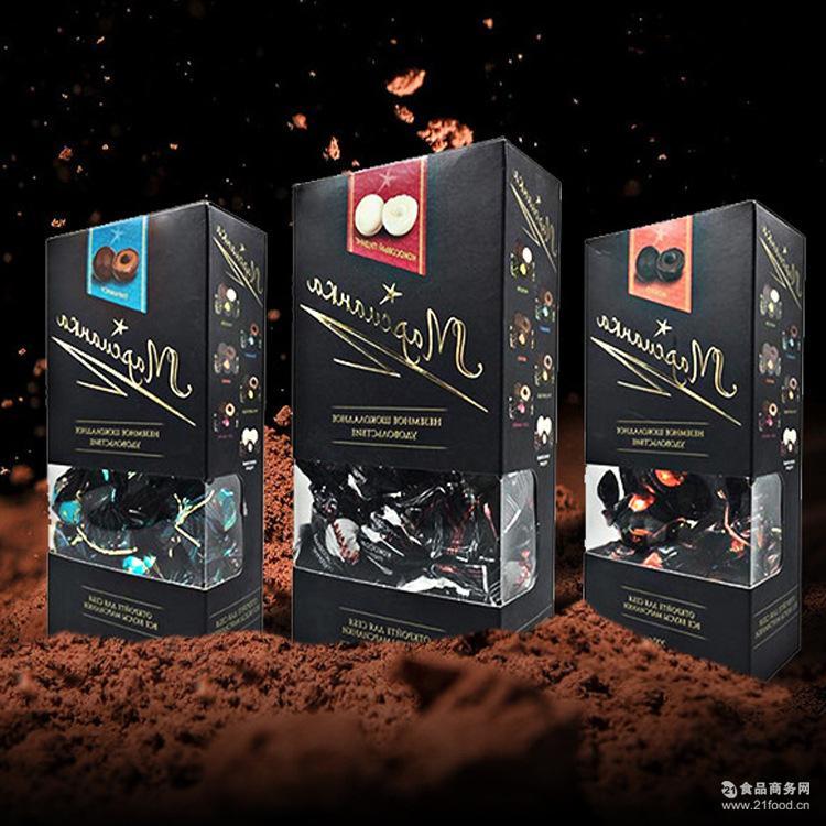 进口俄罗斯盒装巧克力黑美人多口味糖果婚庆喜糖200G一件代发批发