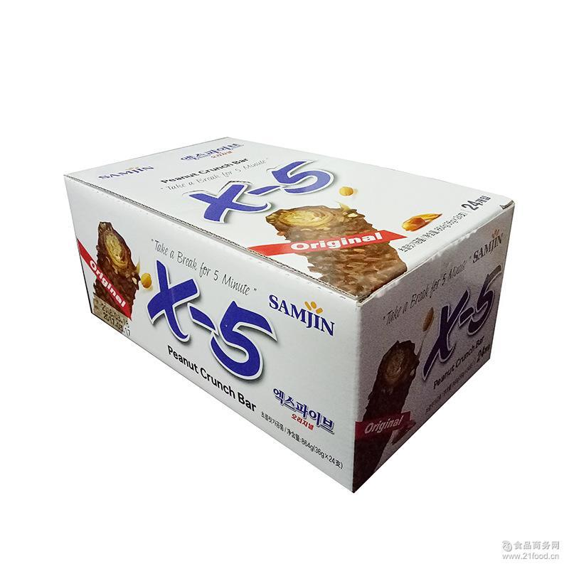 韩国原装进口三进x5巧克力棒 X-5榛果仁巧克力36g原味香蕉味可选