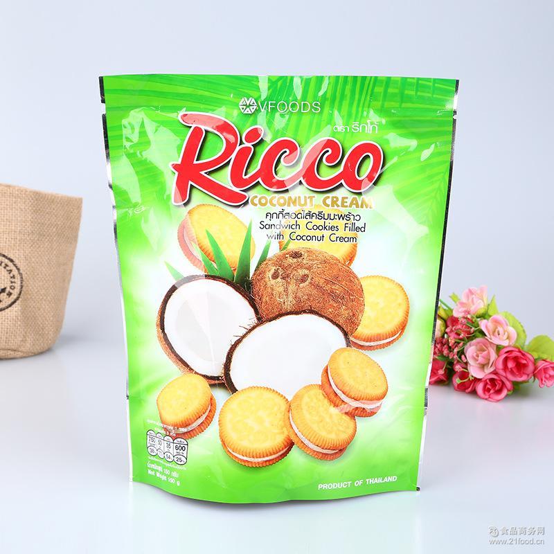 批发泰国进口休闲饼干 RICCO榴莲椰子菠萝芒果味夹心饼干150g批发