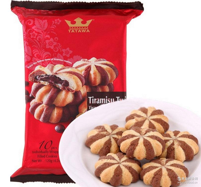 6味选择 马来西亚 TATAWA提拉米苏巧克力软馅曲奇 120g*24包/箱