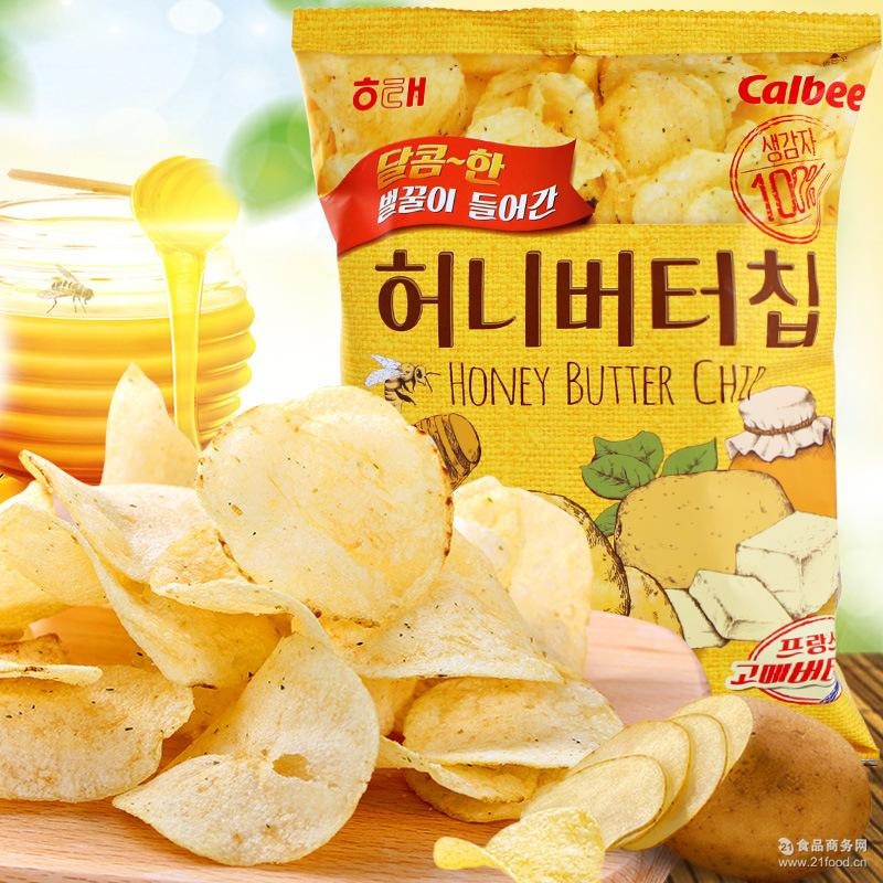 海太蜂蜜黄油薯片60g*16袋烤土豆片整箱批发 韩国进口膨化零食品