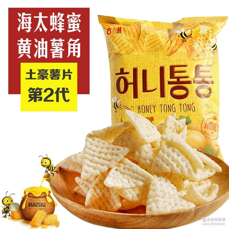 韩国进口膨化食品 进口休闲零食 海太蜂蜜薯角65g/袋 正规通关