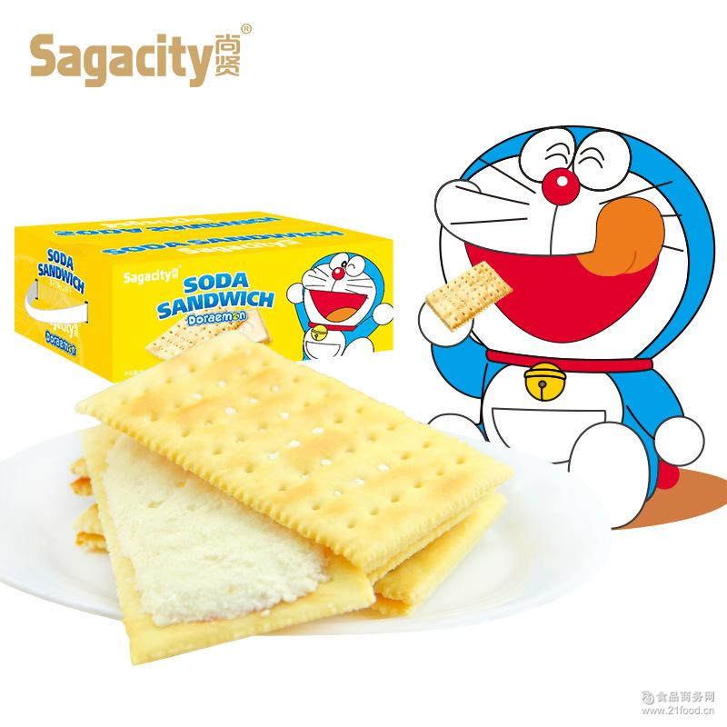 整箱批发 尚贤哆啦a梦水果味夹心苏打饼干2000g一箱四种口味