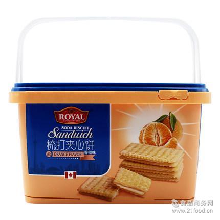 700g夹心饼干酥脆香橙味小吃零食厂家批发饼干代工年货团购代理