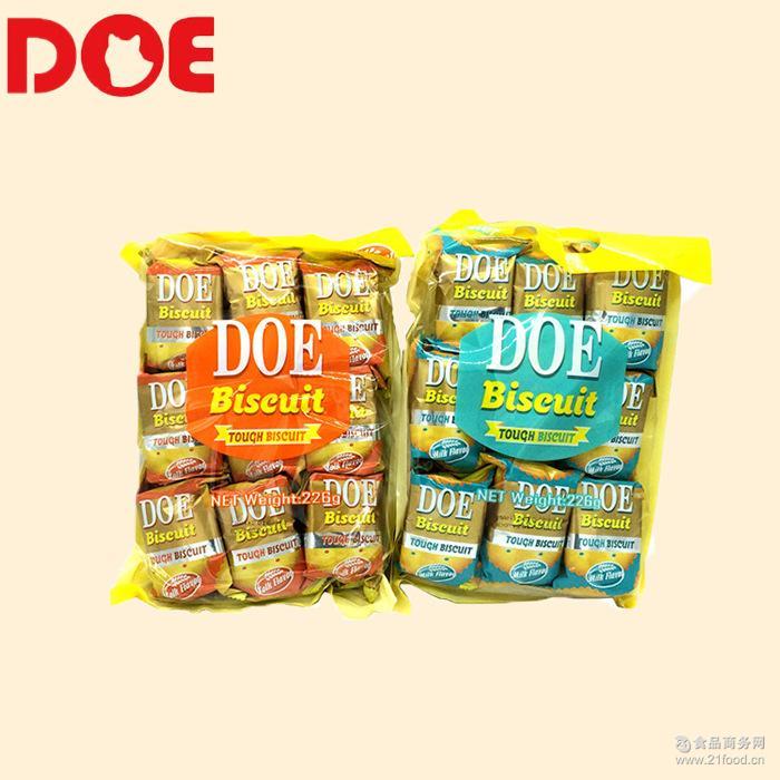 马来西亚进口零食DOE韧性饼干办公室零食蛋黄/牛奶味韧性饼干226g