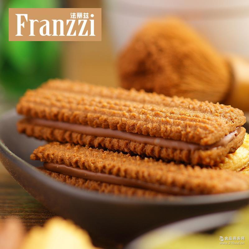 黑巧克力抹茶休闲零食品组合小吃 夹心曲奇饼干58g 法丽兹