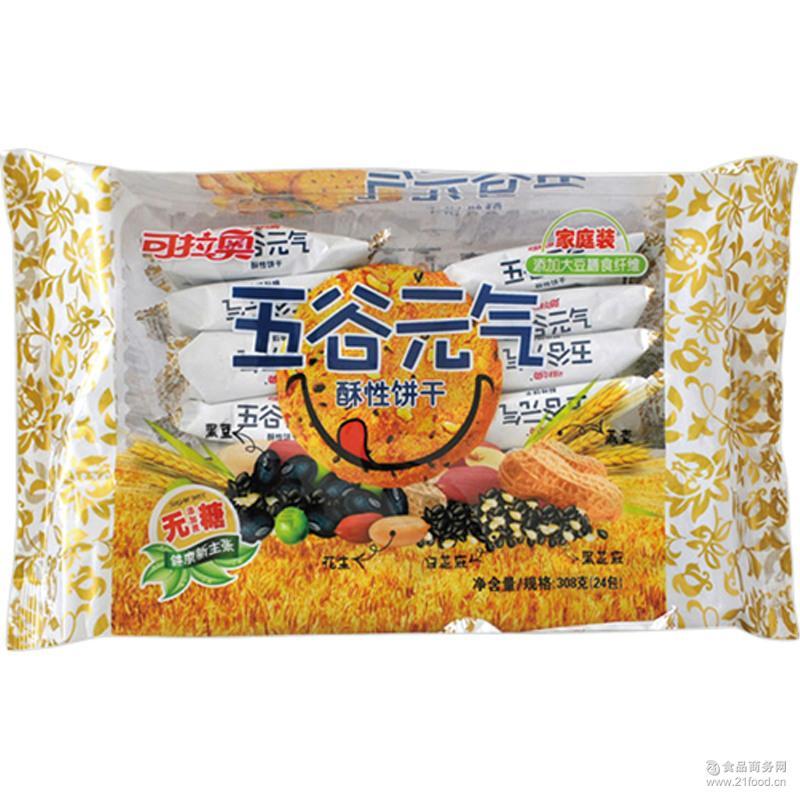 东旺食品可拉奥五谷元气无糖酥性粗粮饼干308g早餐批发