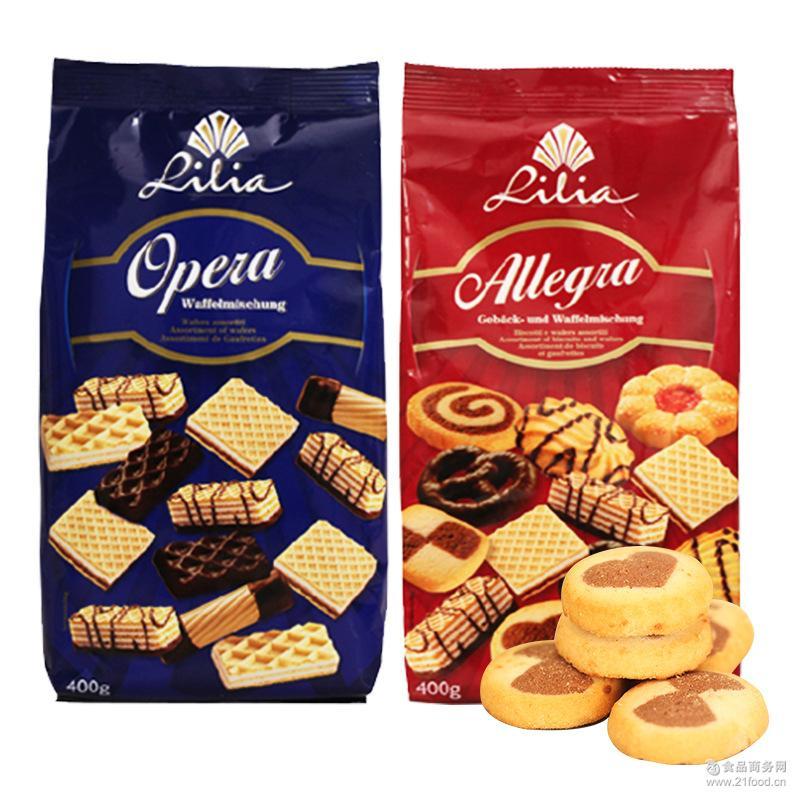 休闲食品 进口零食 德国进口莱亚威化饼干巧克力曲奇饼干400g