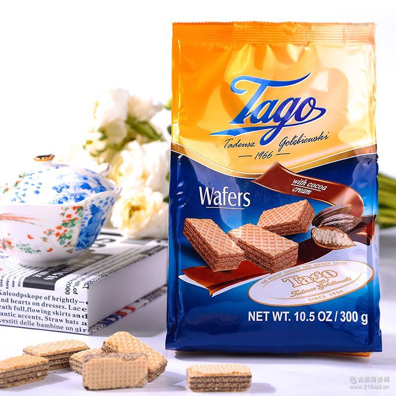TAGO挞歌欧洲波兰进口休闲食品零食甜点可可口味巧克力威化饼干