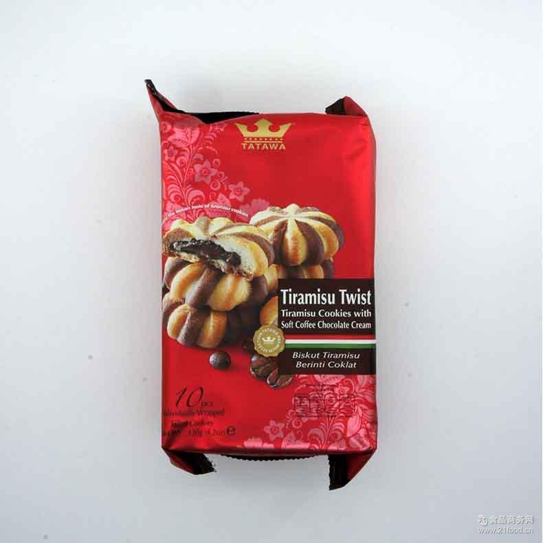 厂家长期供应优质进口食品塔塔瓦提拉米苏巧克力曲奇饼干120g