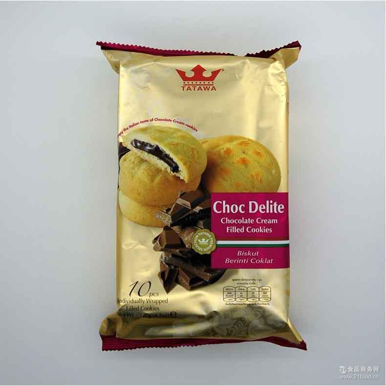 马来西亚进口食品原装塔塔瓦奶油巧克力曲奇饼干120g批发