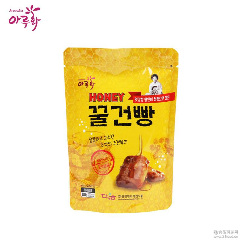 爱如花总代 韩国进口休闲零食品批发 蜂蜜香脆饼干 80g/袋