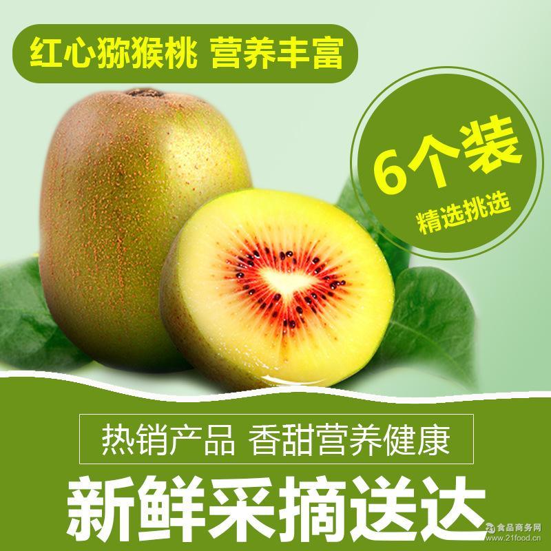 [包邮]江山徐香红心猕猴桃新鲜水果奇异果6只试吃装代理批发