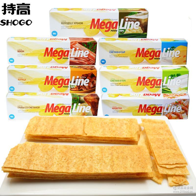 俄罗斯进口Mega Chips 迈咔薯片100g长条薯片 非油炸膨化食品批发