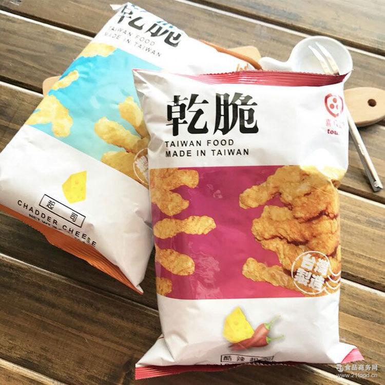 台湾进口膨化休闲零食品 薯片 喜八乐芝士乾脆饼干 袋装60g/袋