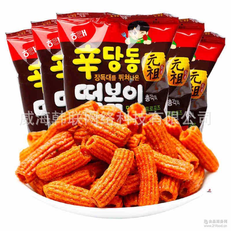 海太元祖甜辣味炒年糕条110g*24袋 整箱批发 韩国进口膨化打糕条