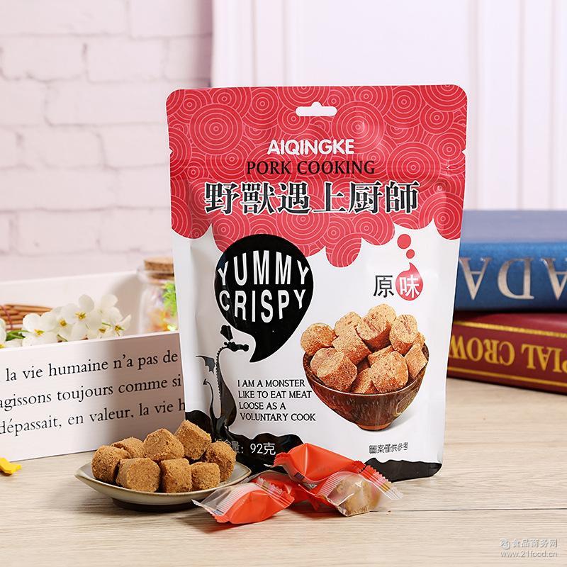 台湾风味PK金安记猪肉片小脆酥肉松粒原味/海苔味肉松粒92g批发