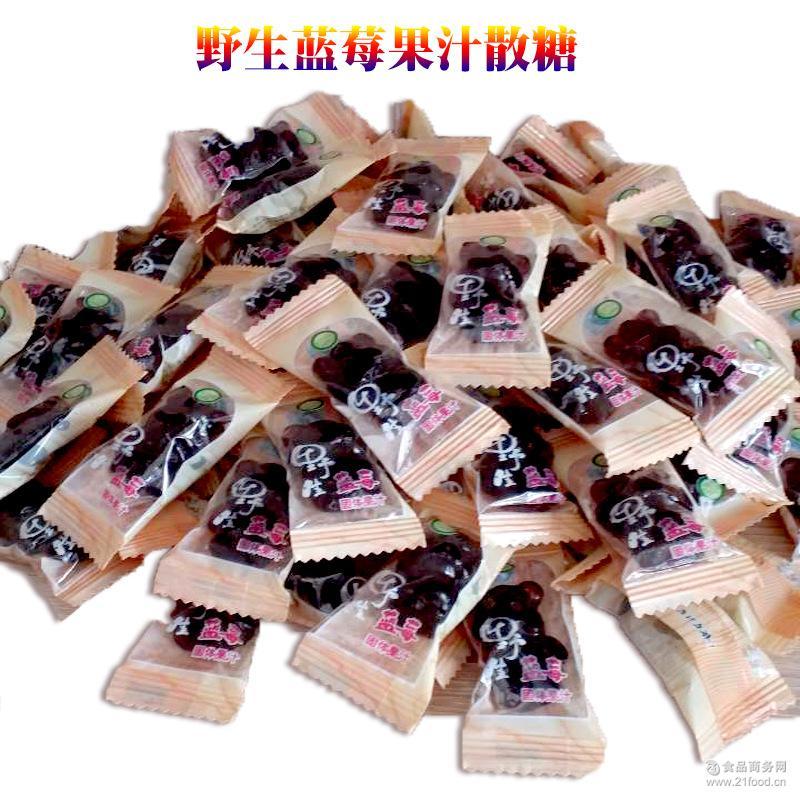 野生蓝莓果汁软糖 东北特产 糖果批发 果汁含量25%散装一箱40斤