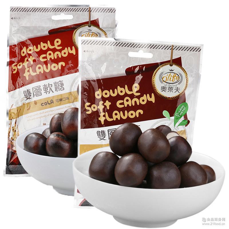 奥莱夫巧克力味+可乐味组合凝胶糖果批发 台进口休闲软糖食品