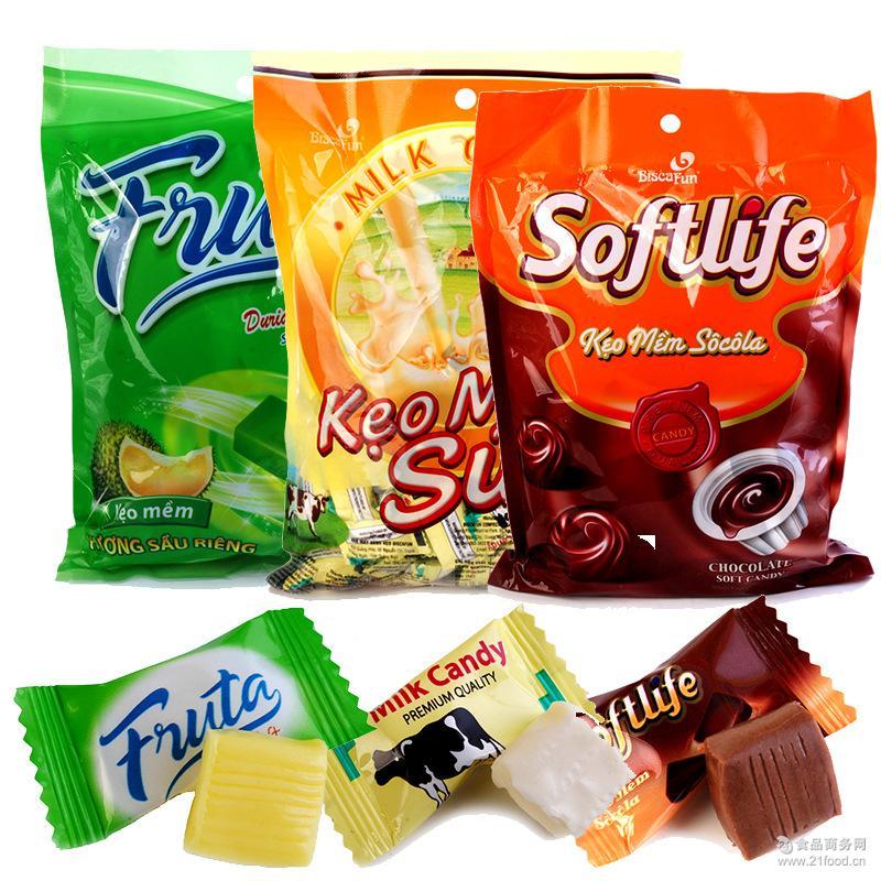 新品越南进口零食休闲食品多口味牛奶软糖 糖果整箱批发一件代发