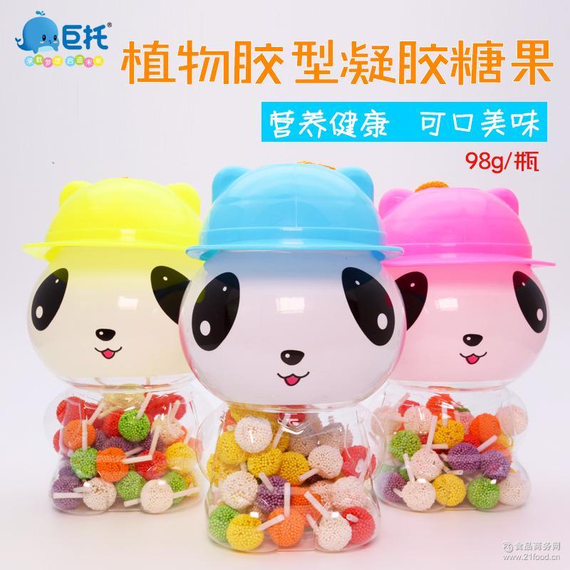 棒棒糖 休闲玩具儿童糖果批发 【小熊猫 珍珠棒】软糖 98g/瓶
