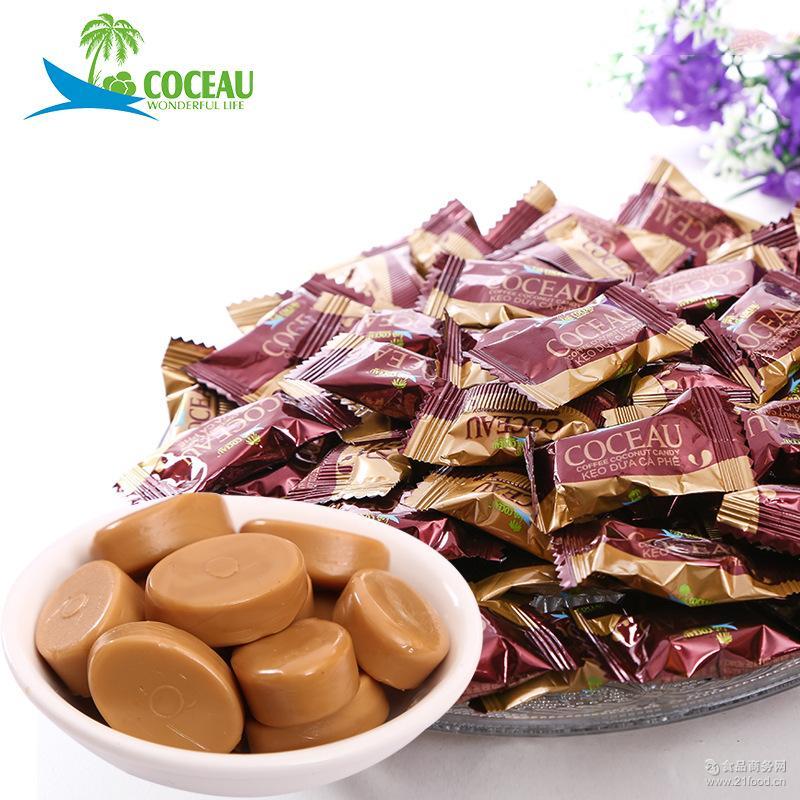 COCEAU越南进口咖啡椰子糖散装500g婚庆休闲零食小吃厂家批发