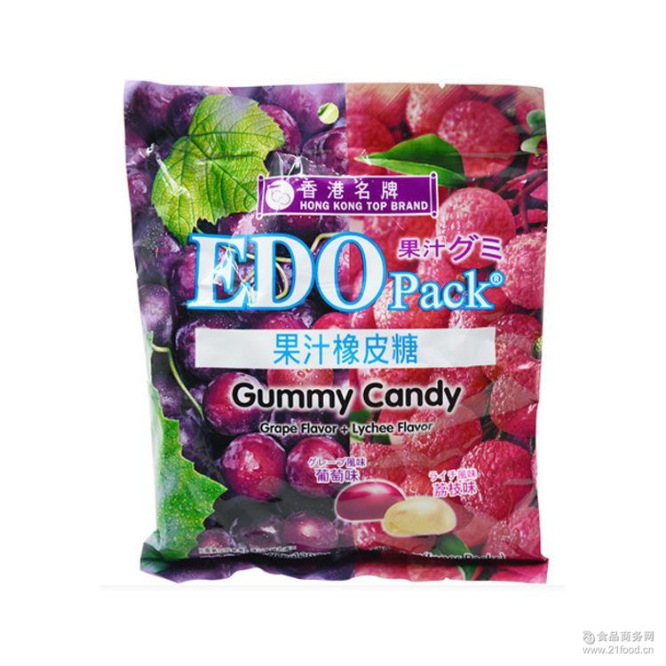 进口零食香港休闲食品EDO Pack多口味水果果汁橡皮软糖果120g