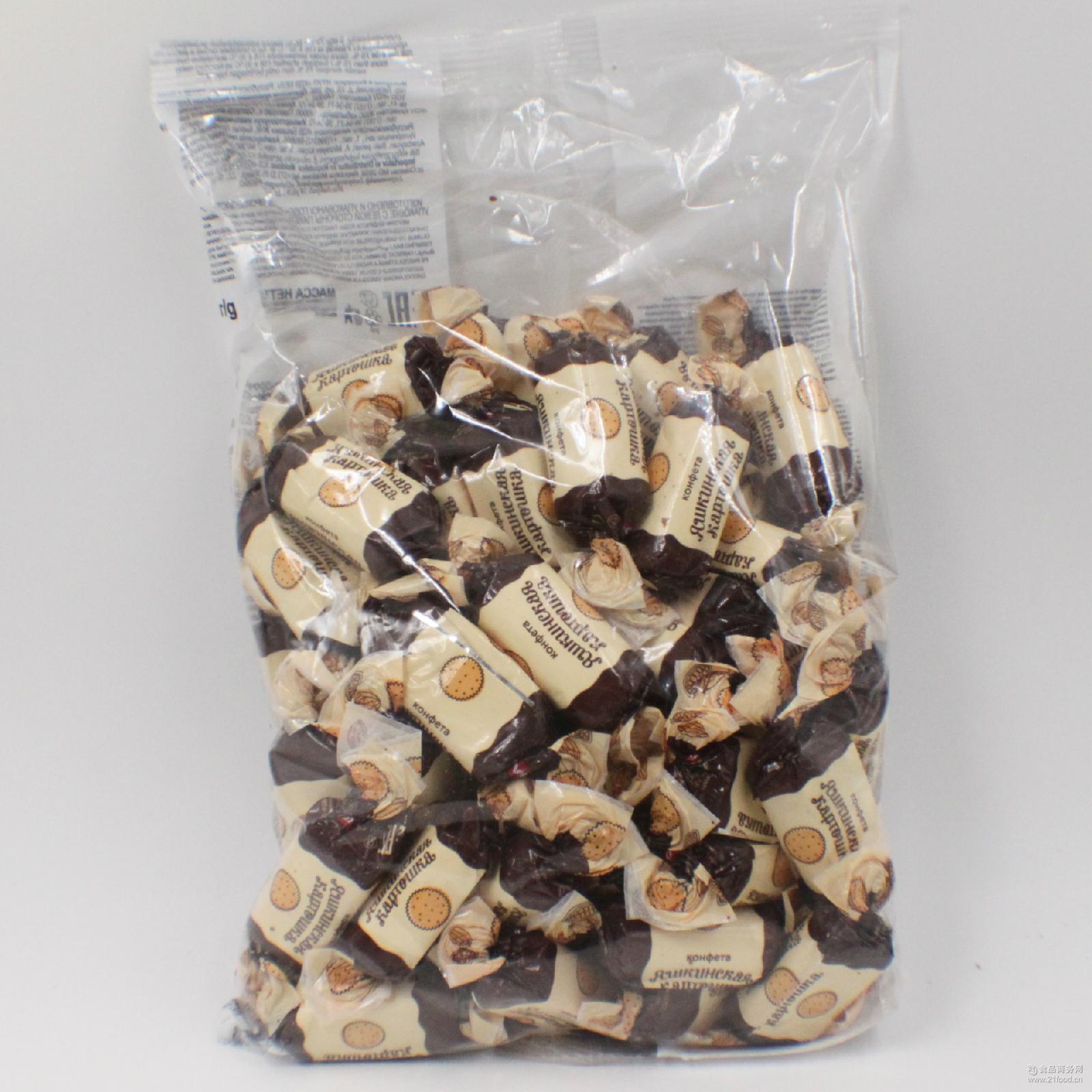 俄罗斯进口糖果KDV土豆泥糖 松露巧克力糖休闲零食1000g批发