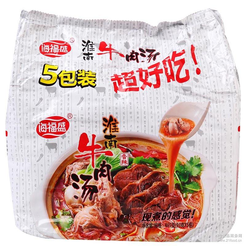 香辣味袋装5连包 海福盛淮南牛肉汤粉丝方便面 红薯粉泡面米线