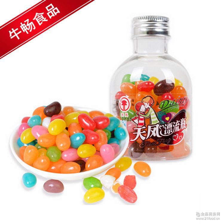 天凤漂流瓶糖果140g圣诞儿童节创意可爱彩虹水果糖6瓶