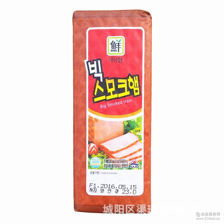 部队火锅原料*方腿香肠熏制香肠大林牌火腿1kg 韩国进口烤肠
