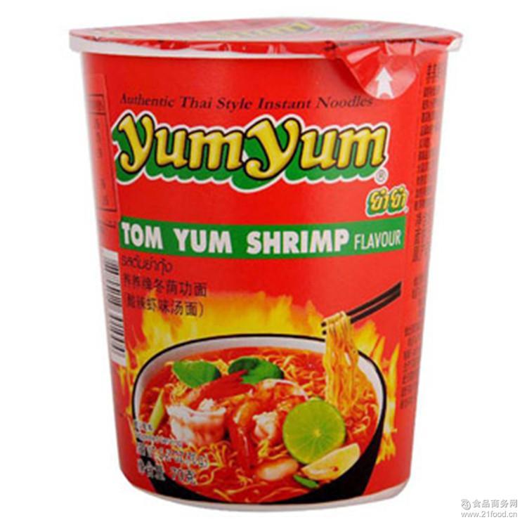 yumyum面 养养牌冬荫功面酸辣虾味浓汤面70g*12杯 进口泰国 食品