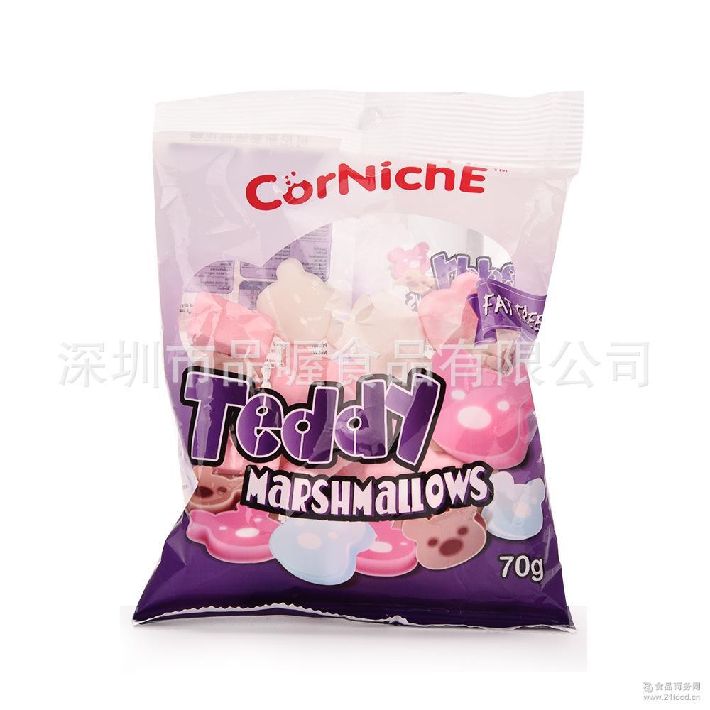 批发泰国进口可尼斯/CorNichE多种口味棉花糖休闲零食70g儿童零食