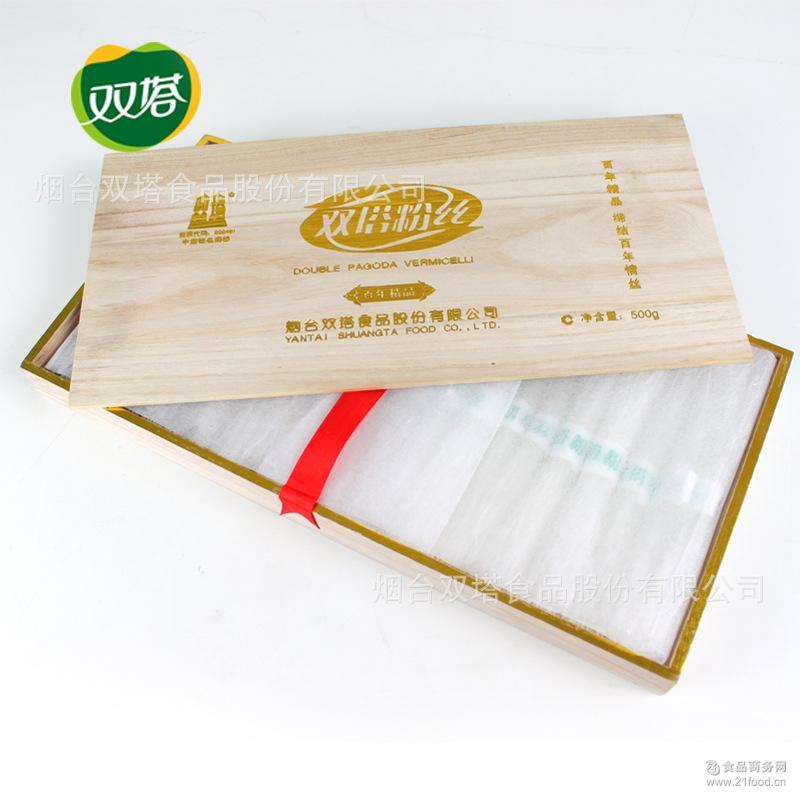 双塔食品 木头礼盒装500g 龙口粉丝特级绿豆